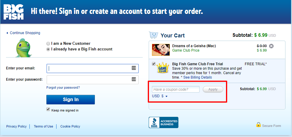 How do I use my Big Fish Games discount code