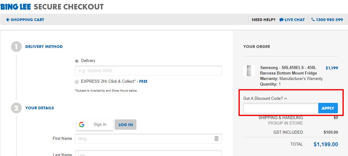 How do I use my Bing Lee discount code