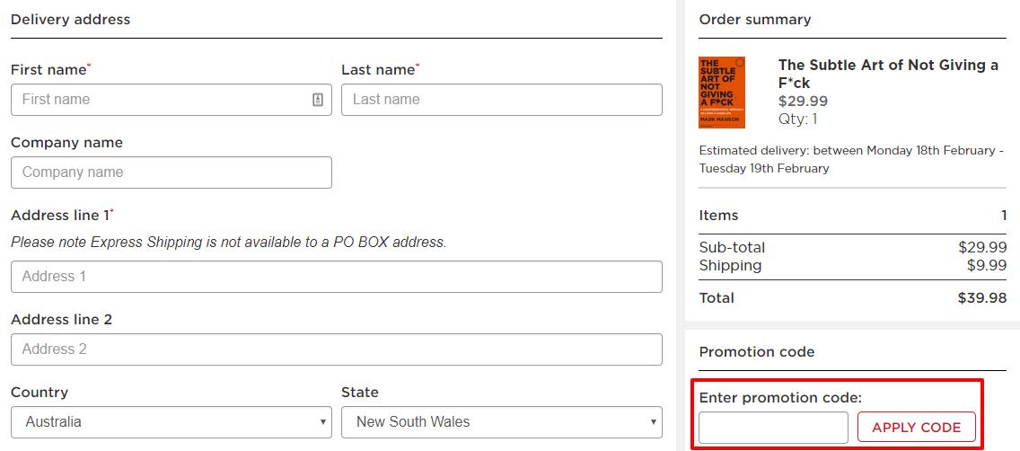 How do I use my Dymocks Books discount code