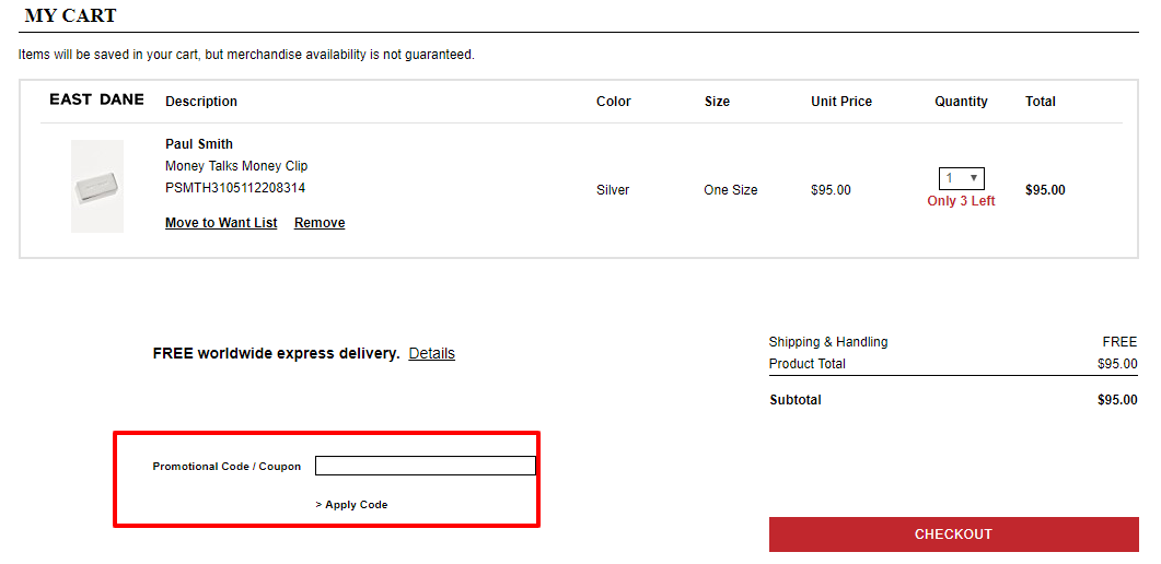 How do I use my East Dane discount code