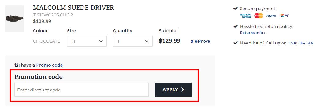 How do I use my Johnny Bigg discount code