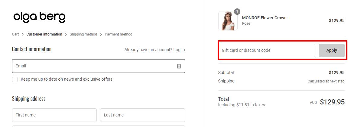 How do I use my Olga Berg discount code