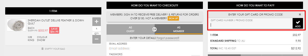 How do I use my Sheridan Outlet discount code