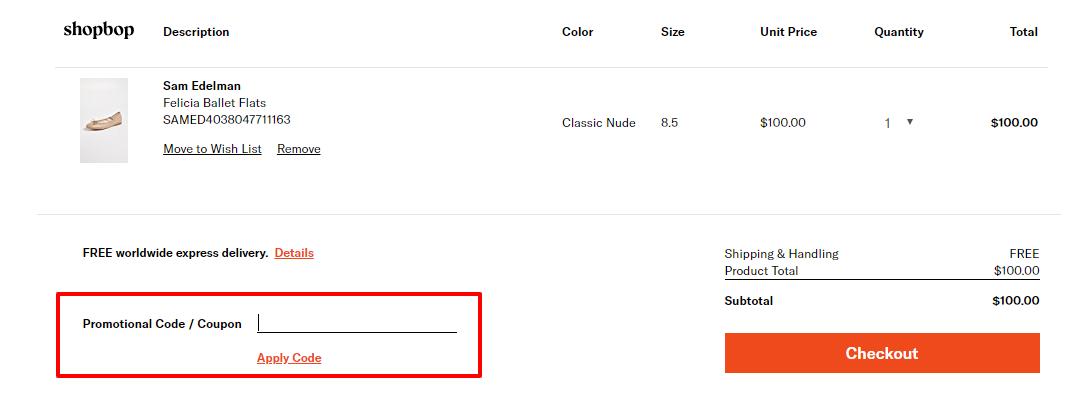 How do I use my Shopbop discount code