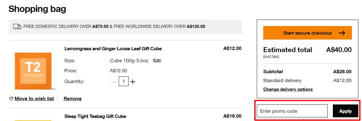 How do I use my T2 Tea discount code