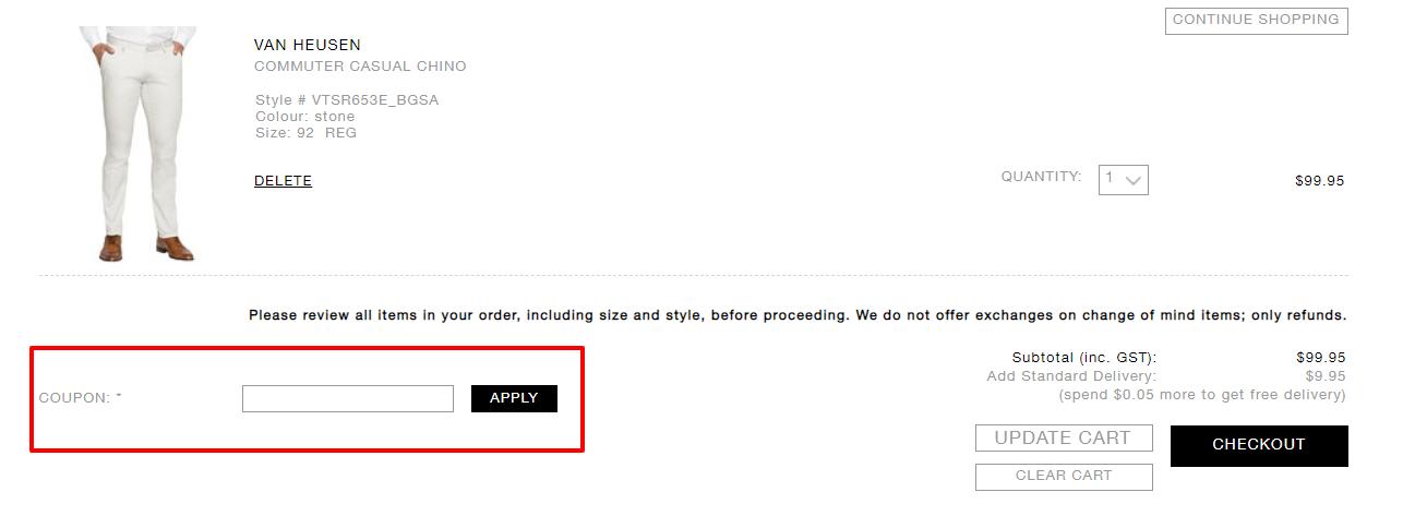 How do I use my Van Heusen discount code