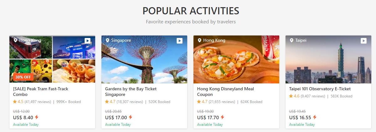 Klook Travel Popular Activities