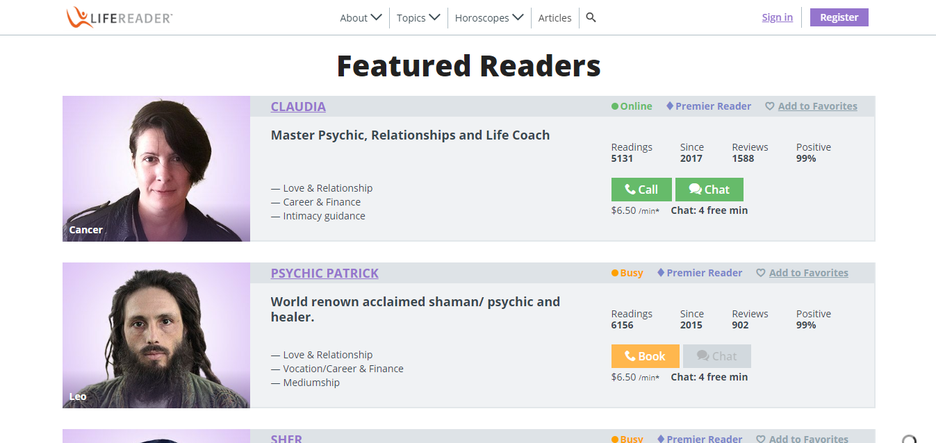 Life Reader Featured Readers Page
