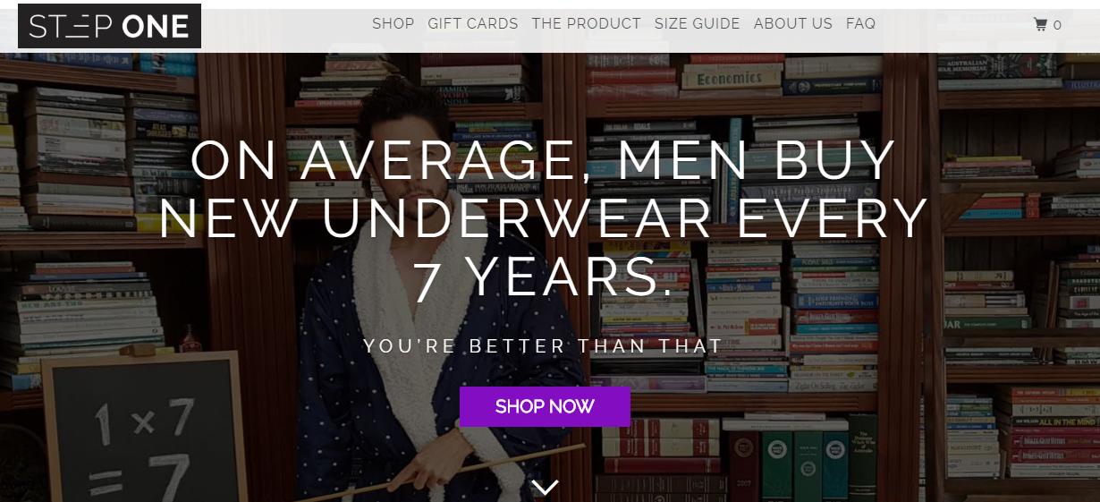 Step One Clothing Homepage