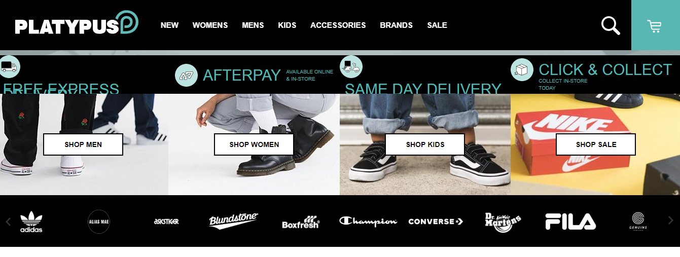 Platypus Shoes Homepage