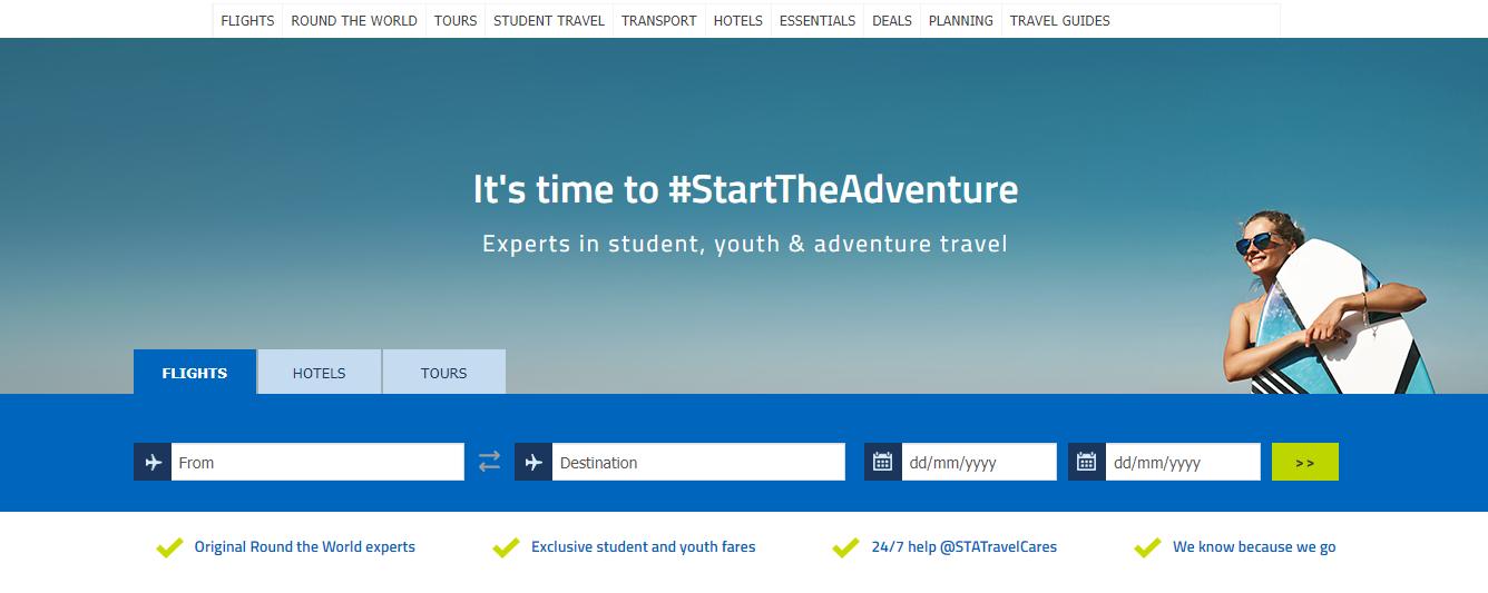 STA Travel Homepage