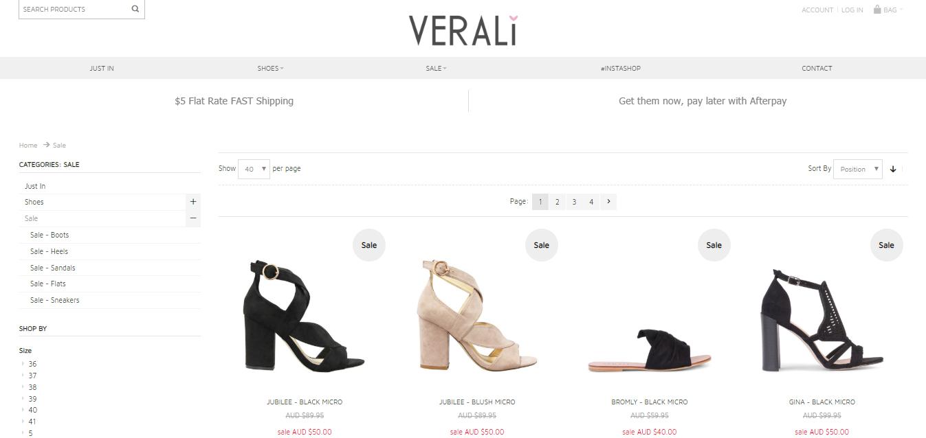 Verali Shoes Sale Page