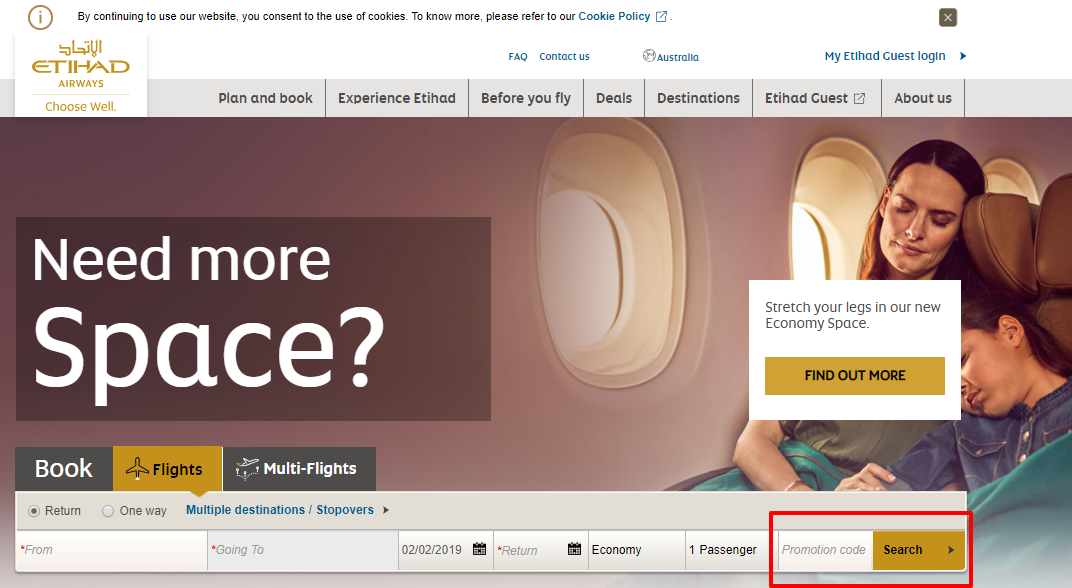 How do I use my Etihad Airways discount code