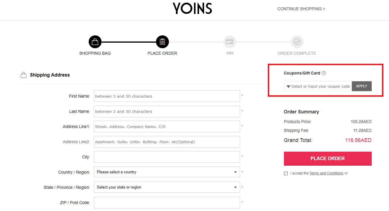 How to use a Yoins discount coupon code